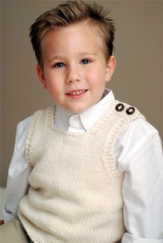 Perfect simple button top vest to keep a little one extra warm and stylish. Free pattern.