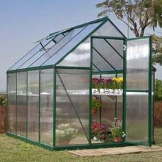 Nature™ 6' x 8' Greenhouse, Green Frame, Twin-Wall