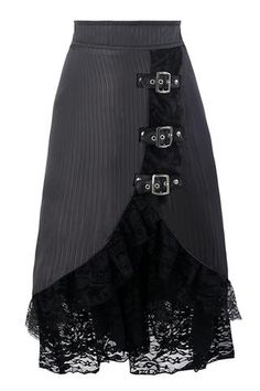 Gray Gothic Hippie Lace Skirt