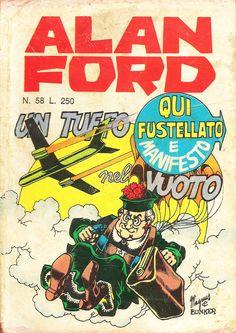 """Alan Ford n.58 """"Un Tuffo Nel Vuoto"""", di Magnus [Roberto Raviola], chine di Giovanni Romanini - aprile 1974"""