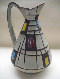 Eduard Bay Keramik Krug 1950er Form 244-30 grafisches Muster innen blau Pottery  | eBay
