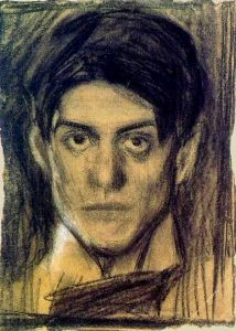 Pablo Picasso - Self-portrait (late - Charcoal and chalk on paper - Barcelona, Museu Picasso. Kunst Picasso, Pablo Picasso Drawings, Picasso Art, Picasso Self Portrait, Self Portrait Drawing, Portrait Art, Picasso Early Paintings, Pablo Picasso Zeichnungen, Picasso Blue