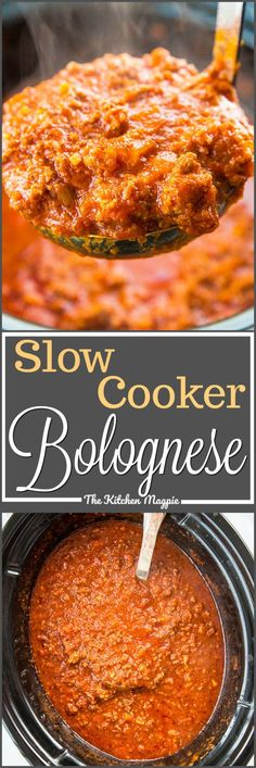 This dreamy slow cooker Bolognese sauce will be a family favourite! It cooks all day long and you end up with a velvety sauce that will change the way you think about sauces! Recipe from paleo crockpot freezer Beste Bolognese Sauce, Homemade Bolognese Sauce, Slow Cooker Bolognese Sauce, Slow Cooker Pasta, Bolognese Recipe, Crock Pot Slow Cooker, Slow Cooker Spaghetti Sauce, Homemade Sauce, Slow Cooking