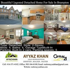 Beautiful Upgraded Detached Home For Sale In Brampton  For Showing Please Call (416) 371-4102 Details Beautiful Upgraded 4 Bedroom With 5 Washroom Detached In A High Demanded Area. Approximately 6 Years Old With Open Concept, Quiet, Family Friendly Neighborhood. The Area Provides A Variety Of Parks, Walking Trails, And A Host Of Recreation Facilities Shopping Malls, Banks, Grocery Stores And Schools All Within Walking Distance Along With Public Transit Stops. Upgraded Washrooms Also Include…