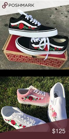 0c18323a0fa Custom multiple colors Old Skool vans w rose patch Custom Old Skool vans  with rose