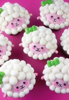 Sweet Sheep Cupcakes Funny Cupcakes, Girl Cupcakes, Animal Cupcakes, Spring Cupcakes, Easter Cupcakes, Birthday Cupcakes, Lamb Cupcakes, Easter Cookies, Sheep Cupcakes
