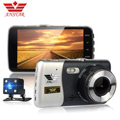 check price anstar new car dvr dual lens 4 inch car camera full hd 1080p parking monitor night vision #led #fog #lights