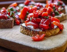 Barbells and Bellinis: Balsamic Roasted Red Pepper Bruschetta. I would use roasted/caramelized tomatoes as well.