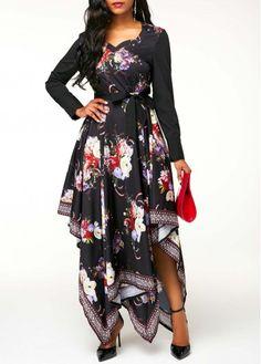 850219ee8d3 Long Sleeve Flower Print Asymmetric Hem Belted Dress