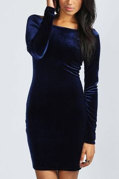 Deep Blue Velvet Body-Conscious Dress with Open Back - US$15.95 -YOINS