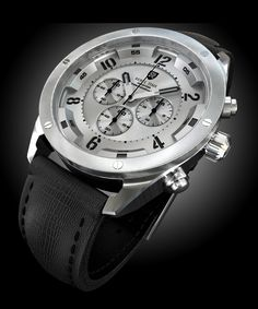 Silver and black mens watch. This handsome Aviator Chronograph is a white and silver and black watch from Rebel Time Watch in Brooklyn, NY. Shop styles for gifts for boyfriend birthday or anniversary gift ideas with this new interpretation of the pilots watch. Bold dial details and deep chapter ring create a dynamic and sporty look. Great gift for him, a bf, grooms gifts, and more at http://www.rebeltime.com/