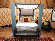 Contemporary Canopy Bed in Danielle's Yurt