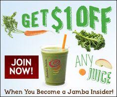 Jamba Juice Printable Coupon | Closet of Free Samples | Get FREE Samples by Mail | Free Stuff