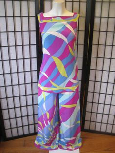 Vintage Emilio Pucci Rare Outfit Silk Tunic Top Pants by girlgal6