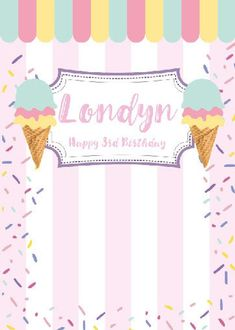 Ice Cream Theme, Ice Cream Party, Ice Cream Background, Candy Birthday Cakes, Digital Backdrops, Candy Party, Backdrops For Parties, Candyland, Girl Birthday