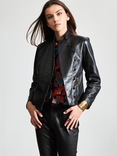 Lamb Leather Jacket with Embroidery