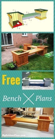 Plans of Woodworking Diy Projects - Planter bench plans - Easy to follow tips, tricks and ideal to help you build an outdoor bench with charm! Free plans at www.myoutdoorplan... #diy #bench #furniture #howto Get A Lifetime Of Project Ideas & Inspiration! #woodworkingtips
