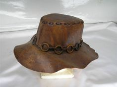 c3ac1178442b3 Old Vtg Leather HAT Western Cowboy Hippie Drifter Hobo 3