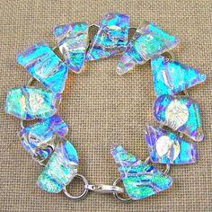 Dichroic Glass Bracelet - Teal Blue Diamonds & Ice Rippled Waves $45