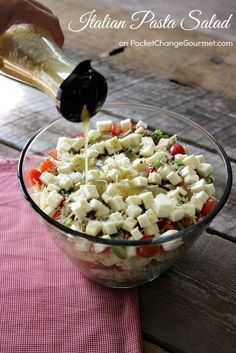 Layered Italian Pasta Salad | Recipe on http://PocketChangeGourmet.com