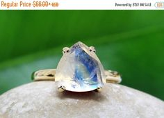 25% OFF - rainbow moonstone ring,semiprecious ring,gold ring,trillion ring,triangle stone ring,gemstone ring,stacking ring by AnemoneUnique on Etsy https://www.etsy.com/listing/229615701/25-off-rainbow-moonstone
