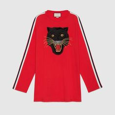 GUCCI Oversize cotton T-shirt with panther - hibiscus red cotton. #gucci #cloth #