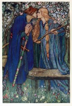 … In that garden fair Came Lancelot walking, this is true, the kiss Wherewith we kissed in meeting that spring day, I scarce dare talk of the remember'd bliss.  Illustration by Florence Harrison, from Early poems of William Morris, New-York, 1914.