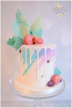 Watercolour Drip Cake - Cake by Dollybird Bakes #katherinesabbathinspired