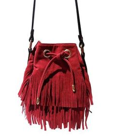 Oxblood Layered Fringe Mini Bucket Bag $19.99 by Zulily