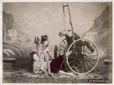 C 1890's Photo Japan 'An Exceeding Fault' Upturned Jinrikisha | eBay