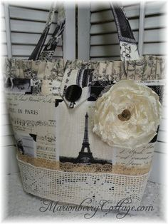 Vintage Paris newsprint Eiffel tower Tote purse