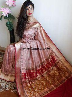 Banarasee/Banarasee Pure Handloom Katan Silk Saree Textured Floral Border-Pink(Dual Tone)