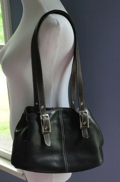 afa7c65586 TIGNANELLO Black Buttery Soft Leather Double Strap Shoulder Bag Purse   Tignanello  ShoulderBag