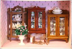 Vignettes, Dollhouses and Roomboxes from the 2010 Westcoast Dollhouse Show: A Simple But Effective Display of China Cabinets