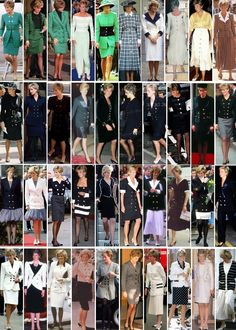 royalroaster: Diana in a rainbow of coats and dresses with buttons