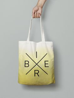 "Gelber Jutebeutel im Ombré-Stil ""Bier""/ yellow ombre tote bag ""beer"" for oktoberfest by Nullsieben-Design via DaWanda.com"
