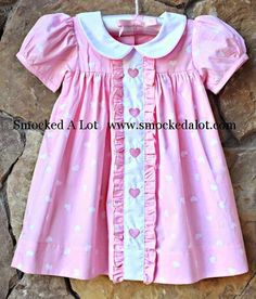 Smocked A Lot Girls Dress Valentine/'s Day Heart Fabric Pink Hearts Flutter Lace