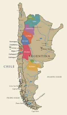 Regiones vinicolas de Chile y Argentina