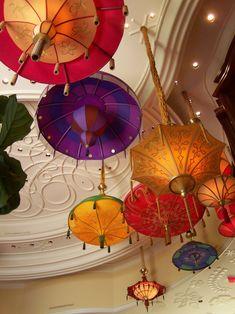 Umbrella Shade Ceiling Light Fixtures ~ Love the great color & designs...unique.