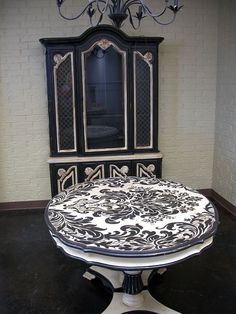 Damask table...love the black and white base also!