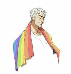 Beautiful art of Soldier 76 with the gay pride flag Album Design, Jack Morrison, Monster Prom, Overwatch Fan Art, Purple Cat, Female Soldier, Cute Comics, Cat People, Cool Artwork