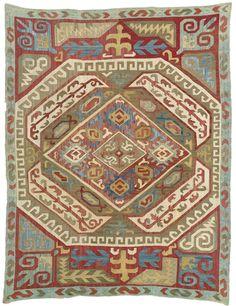 Azerbaijan embroidered silk panel, South Caucasus, 18th c.
