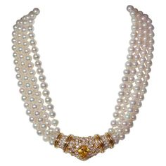 1960s Pearl Yellow Sapphire Diamond Necklace