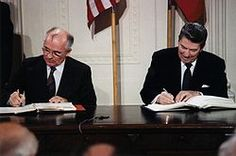 American President Ronald Reagan and Soviet leader Mikhail Gorbachev eased tensions between the two superpowers, leading to the end of the Cold War