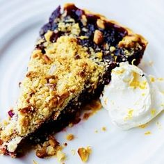 This recipe turns mulled wine into a delicious winter tart with a spicy, sticky filling and a crumbly topping.