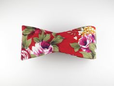 Floral Bow Tie, Red Floral, Flat End – SuitedMan