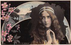 Cléo de Mérode, carte colorisée.