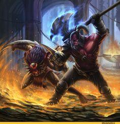 #Dota2 Dota Art,Dota,фэндомы,Strygwyr the Bloodseeker,Mogul Khan the Axe,oliverdking