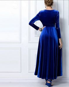 Royal Blue Velvet Dress Long Party Formal Evening Maxi by LYDRESS