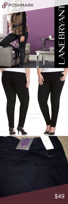 Lane Bryant Genius Fit Black Skinny Jean Plus Size Genius Fit black skinny jean uses the power of LYCRA® dualFX denim for a flattering fit that stays true to your shape & never stretches out. Ultra-trendy & curve-hugging silhouette combines the comfort of leggings with classic denim details like five-pocket design, button & zip fly closure and belt loops. Wear them with your favorite top & killer heels for a fashion-forward ensemble. Plus Size 28 (Reg) & 18 (Long). ⚡️I do not have the…